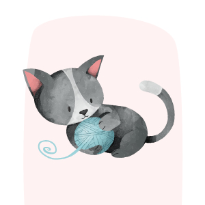 adoptar gatos pequeños cachorro jugando con pelota de lana