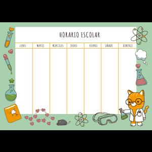 planning semanal gato ciéntifico color verde con consejos para cuidar de tu gato después de las vacaciones de verano