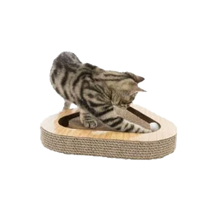 rascador gatos triangular de carton corrugado con juguete